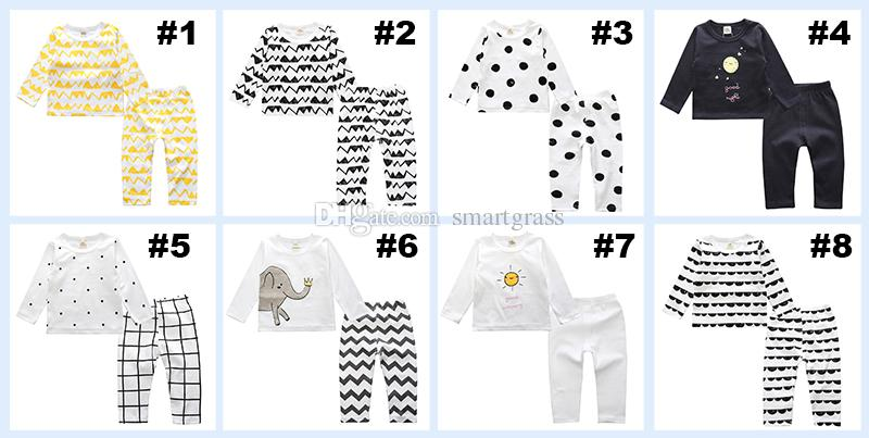 INS Unisex Toddler Pajamas Sets Cute Elephant Printed Cotton T Shirts and Full Length Sets Autumn Winter Baby Clothes 7110805