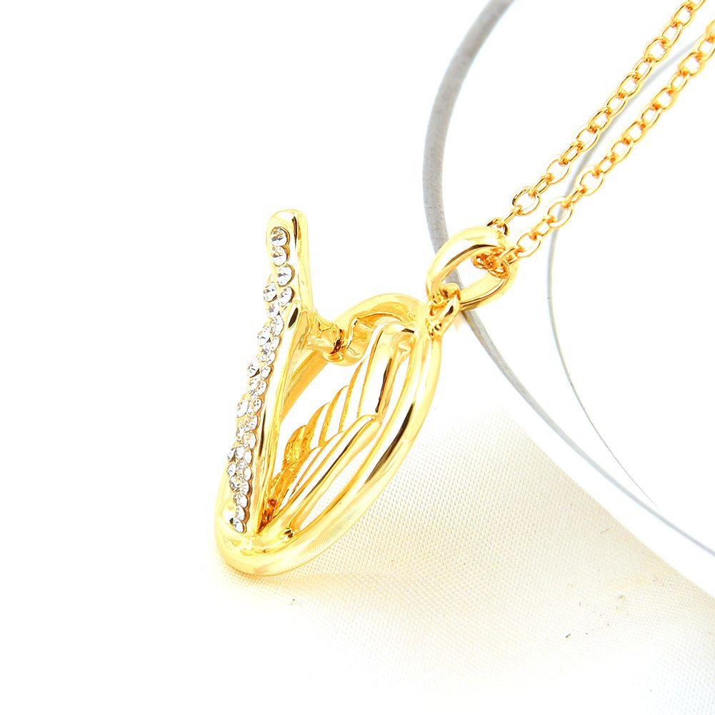 18 K Banhado A Ouro de Cristal Austríaco Mulheres Charme Colares Presentes de Amor de Natal Moda Jóias Meninas Bonitos Angle Asa Amantes Pingente
