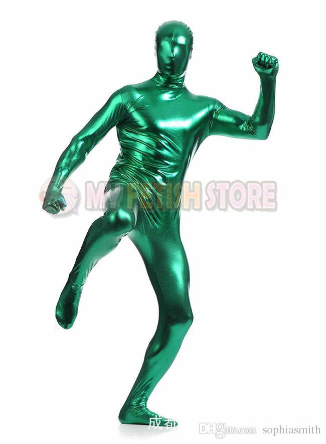 jxy005 shiny metallic zentai Suit for Men/women front open halloween performance zentai Catsuit costume