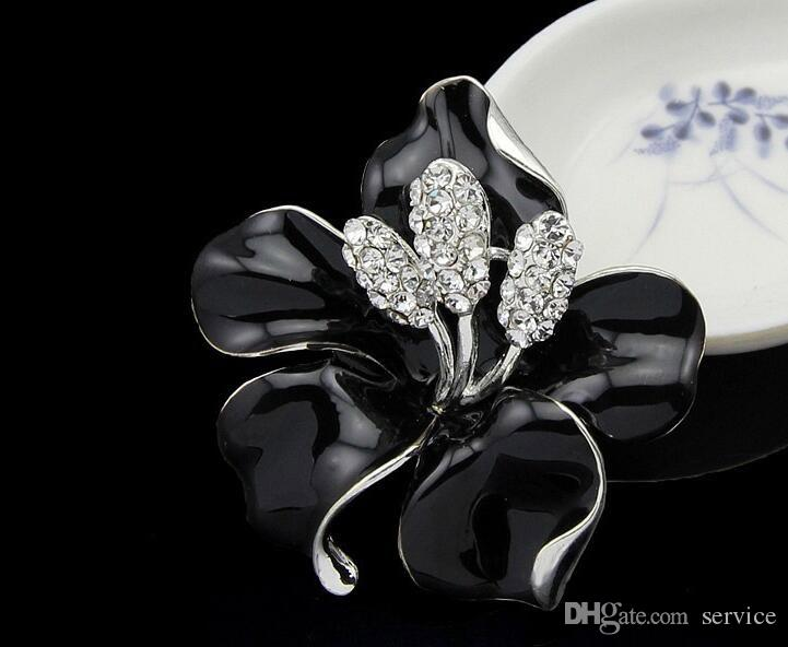Clear Crystal Poppy Flower Brooches Pins Large Size Brooches Bouquet Wedding Brooches 2016 October style