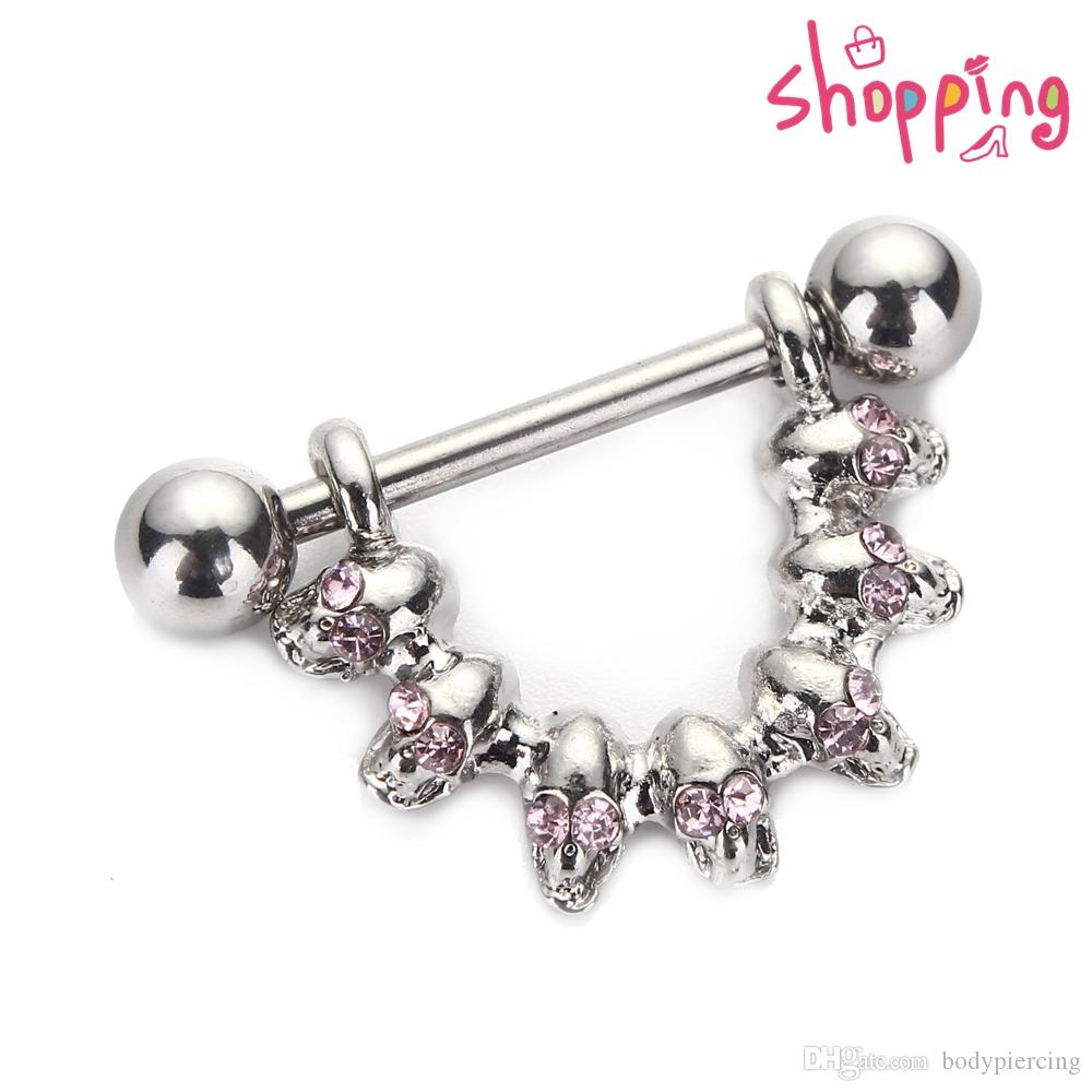 Skull Nipple Piercing Bar Shield Barbell Ring Jewel Gem Design Surgical Steel 16G for Women Body Jewelry
