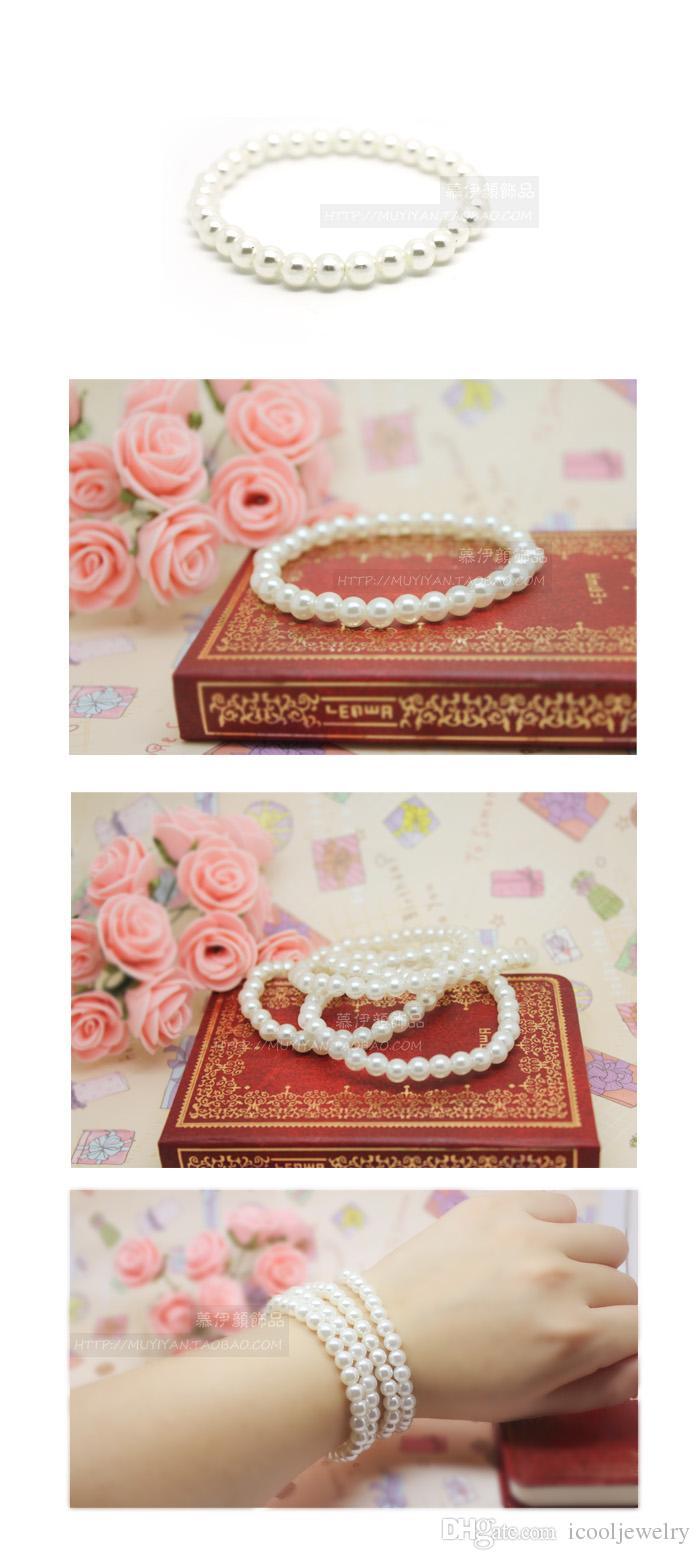 Wholesale Fashion Bracelet Women White Beige Cheap Artificial Faux Pearl Bracelets Fashion Jewelry Bulk LR382