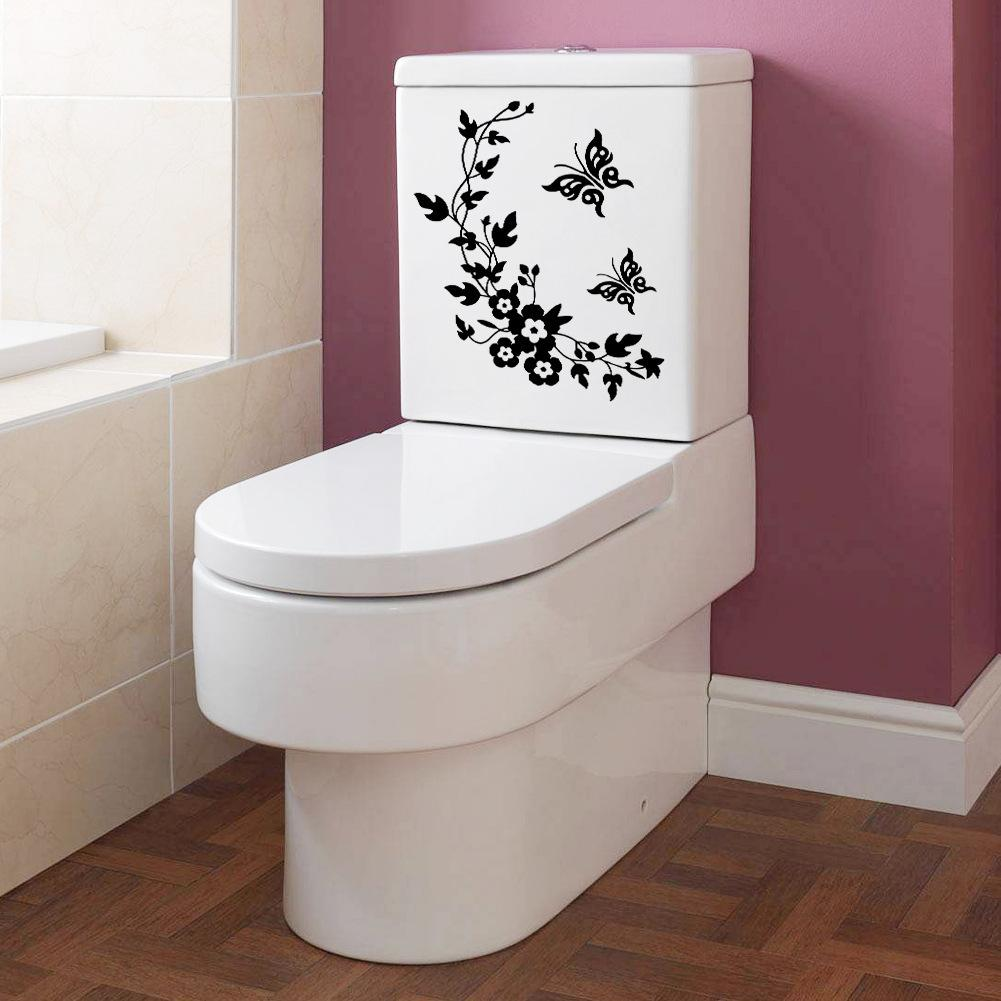 New Butterfly Flower Vine Bathroom Wall Stickers Home Decoration
