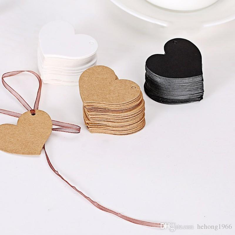 Etiquetas de papel Kraft DIY para hornear Cake Hang Label en forma de corazón Brown Tarjeta de felicitación Nueva llegada 0 03xqa B R