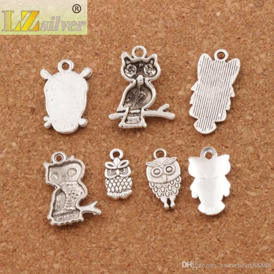 3D Bird Owl Charms Colgantes de Moda 100 unids / lote 7 estilos de Plata Tibetana Fit Pulseras Collar Pendientes Joyería DIY LM40
