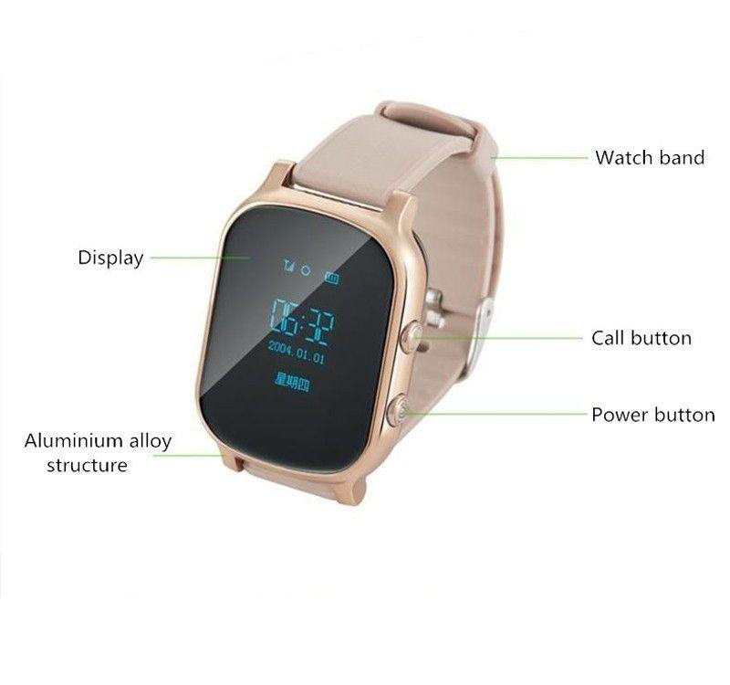 89dd0c955968 GPS Tracker Smart Watch T58 для детей Дети GPS браслет Google Map SOS  кнопка трекер Gsm GPS локатор часы ...