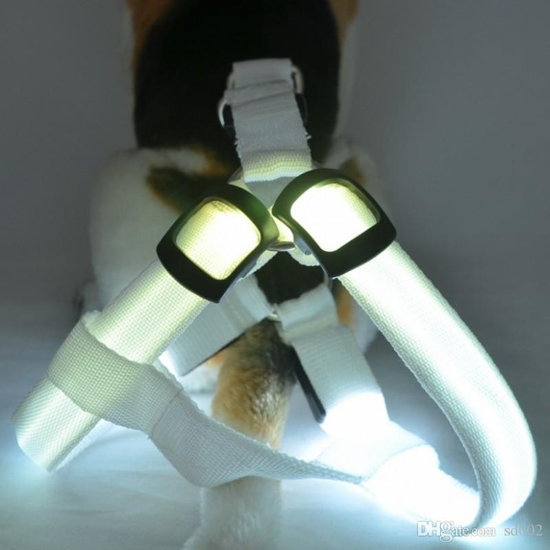 نايلون الكلب جرو الراحة تسخير أدى ضوء اللمعان الحيوانات الأليفة تسخير حزام سترة طوق متوهجة الحيوانات الأليفة المقاود دون حبل 7 5 غرام ب