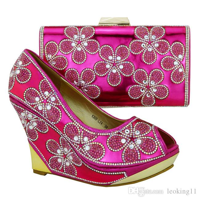Elegant ladies pumps with nice rhinestome flower decoration african shoes and handbag set high heel 10.5 CM shoes 1308-L74 green