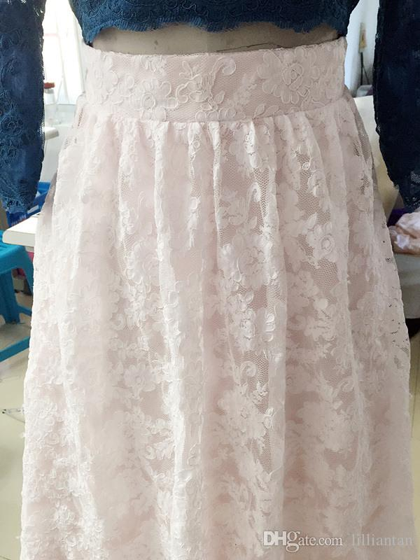 Quality Lace Two Pieces Evening Dresses Real Photo Long sleeves Lace Prom Dress Lady Formal Party Gowns vestidos de festa Crop Top