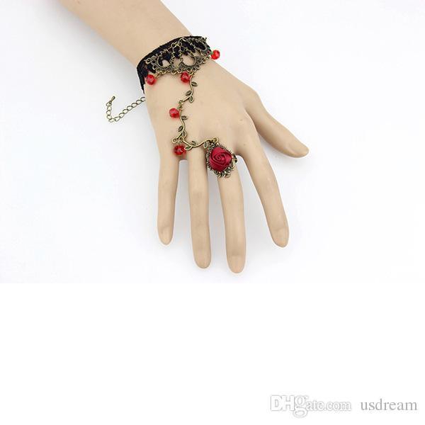 Vintage Charm Bracelet Dentelle Fleur avec Annulaire bijoux de mariée mariage bracelet bronze Gants de mariée femme bijoux déclaration cadeau