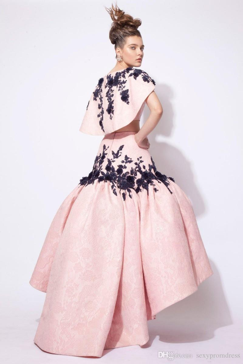 Saudi Arabic Pink Two Pieces Prom Dresses Cap Sleeve Black Lace Appliques Satin Ruffles High Low Evening Gowns Custom Made Dubai Formal Wear