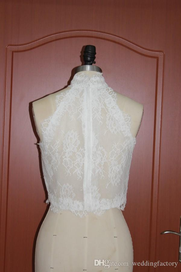 Romantic Lace Real Picture High Neck Bolero Jacket Wedding Evening Bridal Jackets Sleeveless Sheer Vest Wraps Shrugs Custom