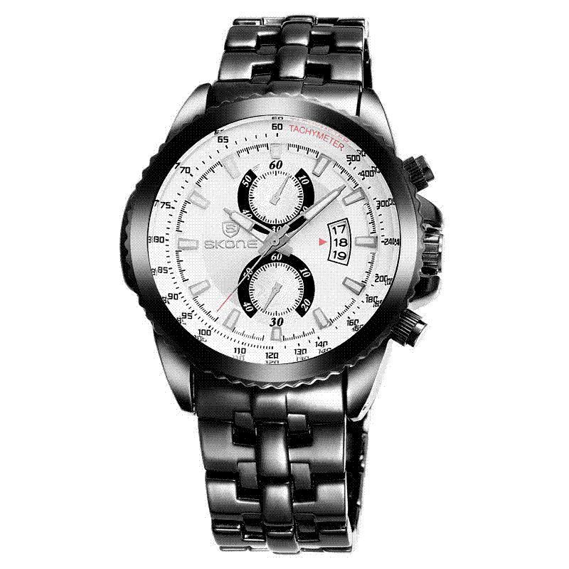 8f54c0ba152 Compre Skone Relógios Homens Top Marca De Luxo Fashioncasual Completa De  Aço Relógios Desportivos Relogio Masculino Negócios Relógio De Quartzo  Relógio De ...