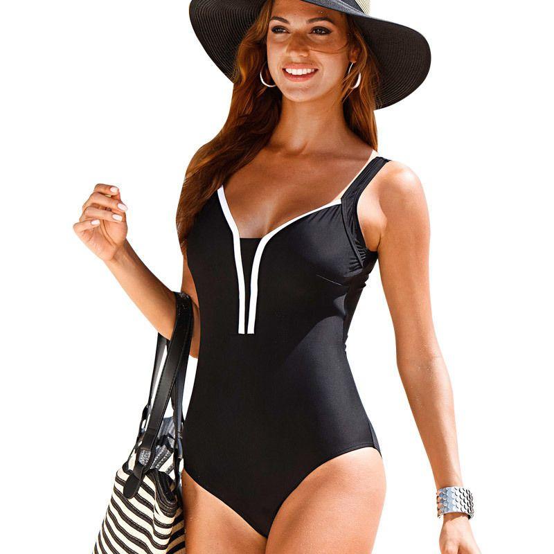 a1a78ca6112f8 2019 Wholesale Plus Size Swimwear 2016 New Summer Beachwear Swim Suit Print  Stripe Vintage One Piece Swimsuit Women Bathing Suits Black 4XL From  Bevarly