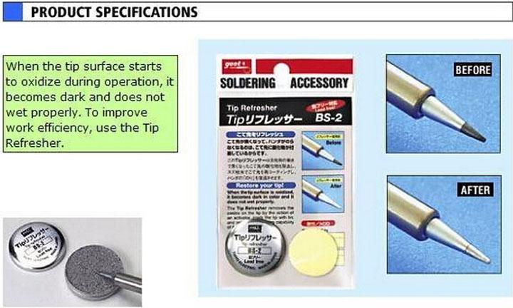 일본 GOOT 브랜드 BS-2 Resurrection Cream 솔더링 팁 NW 9g RoHS 팁 리프레셔 클린 솔더 아이언 헤드