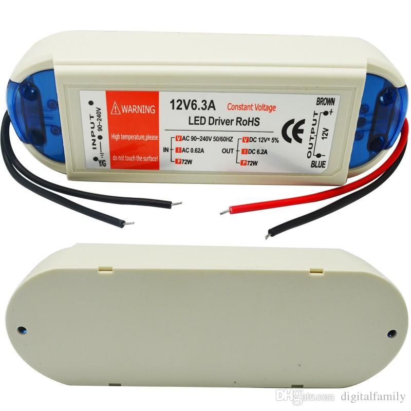 12 V 6.3A 72 W Fonte de Alimentação 18 W 28 W 48 W 100 W 90 V-240 V Transformadores de Iluminação Safy Motorista Para Luzes LED Strip Lâmpadas LED