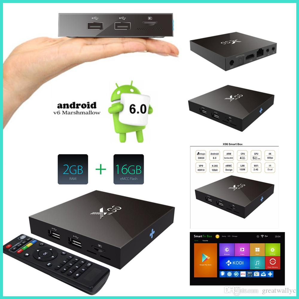x96 2gb 16gb quad core internet tv box 4k android 6 0 marshmallow tv box amlogic s905x smart. Black Bedroom Furniture Sets. Home Design Ideas
