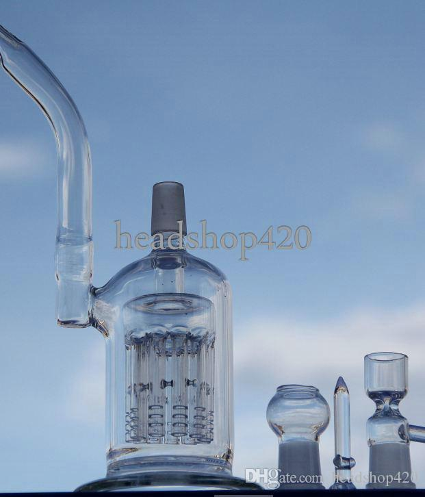 Two function 11arm percolator water pipe glass bong 18.8mm male or female joint with oil rig dome nail or bowl for tobacco