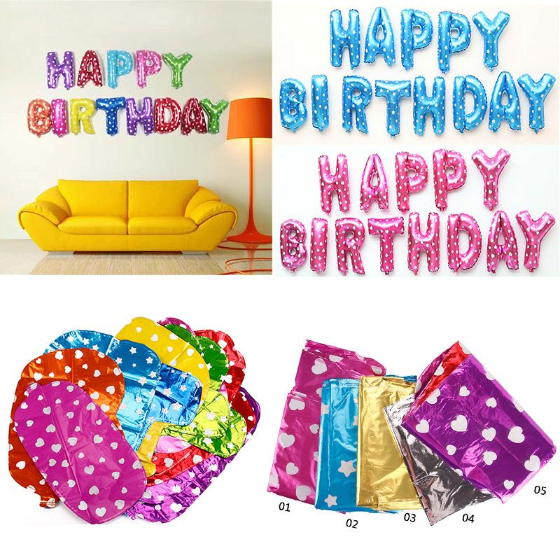 Happy Birthday Letter Shaped Balloons Multi Color Foil Balloons