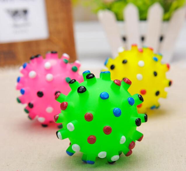 Colorful Soft Plastic Ball Pet Toy Dog Chew Elastic Ball Toys Pet Cat Sound Educational Toys For Small Pets