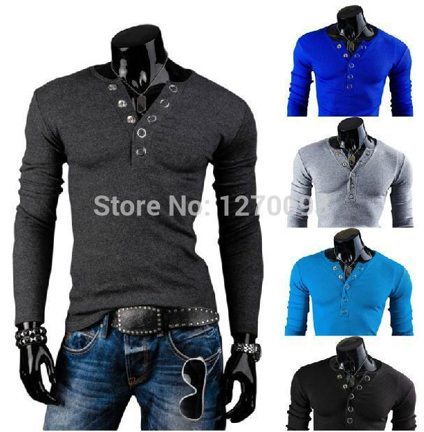 Mens T Shirts Fashion 2016 New Spring Brand Men'S V Neck Ring ...
