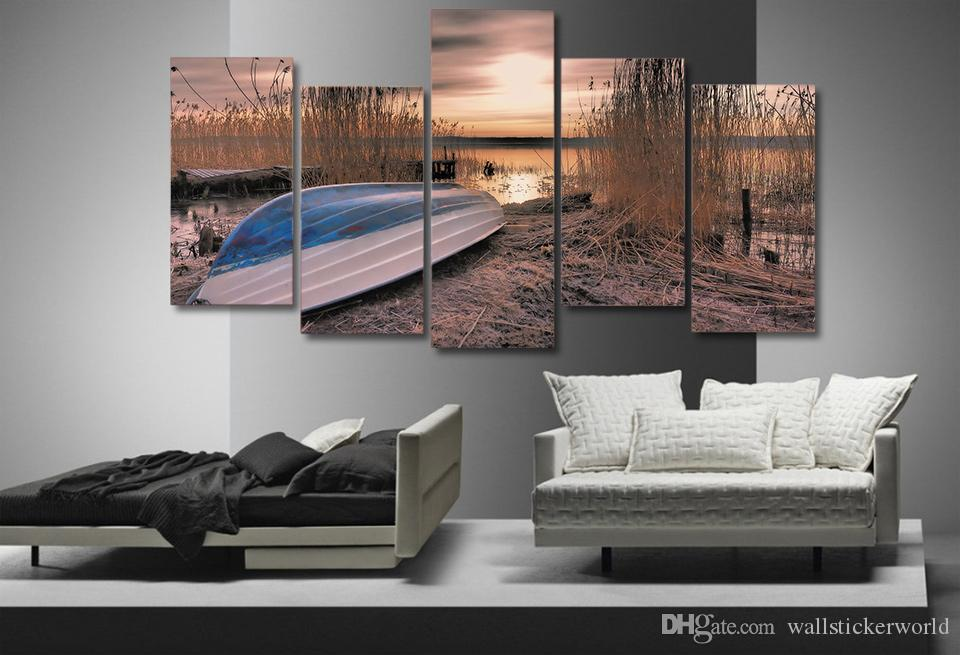 Framed Printed sunset lake boat landscape Painting on canvas room decoration print poster picture canvas /ny-4553
