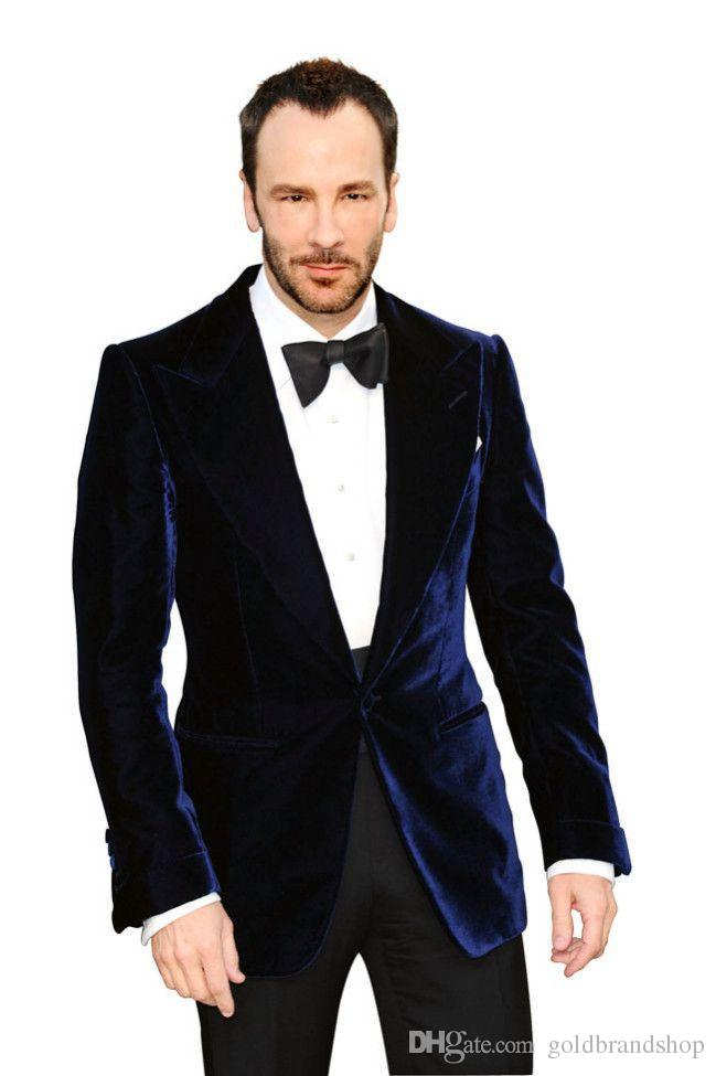 Tailored Dark Blue velvet wedding suits for men peak lapel /Groom Wear tuxedos Jacket+Pant+tieFree Shiping