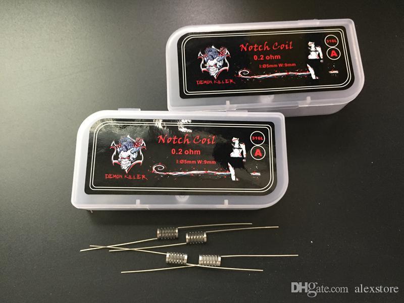Demon Killer Notch Coils 316L SS Stainless Steel Notchcoil Heating Premade Wire 0.2ohm Prebuilt /Box For Vape Wismec Theorem RTA DHL
