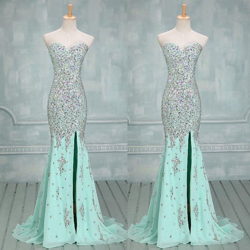 Novia Sexy Foto Real Lime Verde Prom Vestido Longo Chiffon de Cristal Querida Pesado Frisada Sereia Pageant Vestidos de Luxo Vestidos de Baile 2016