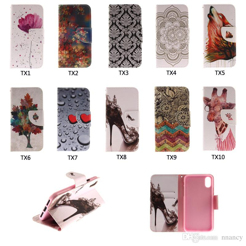 For Iphone X Iphone 4 5 6 7 8 Plus Case Advanced Luxury Painted Wallet Case Flip Stand Phone Case Retail Package