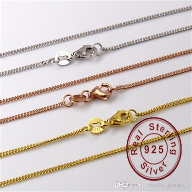 Authentic 925 Sterling Silver chain Fit DIY necklace 925 sterling silver jewelry gold and silver and rose gold Chain for girl Christmas gift