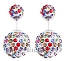 High quality 925 Sterling Silver Double sided Shambala Ball Stud Earrings Fashion Jewelry Diamond Crystal Disco Beads Earings