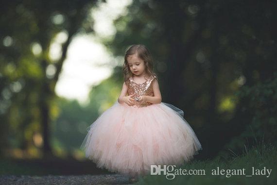 Rose Or Paillettes Blush Tutu Fleur Filles Robes 2018 Jupe Puffy Pleine longueur Petit Enfant Infantile Nuptiale Communion Forml Dress