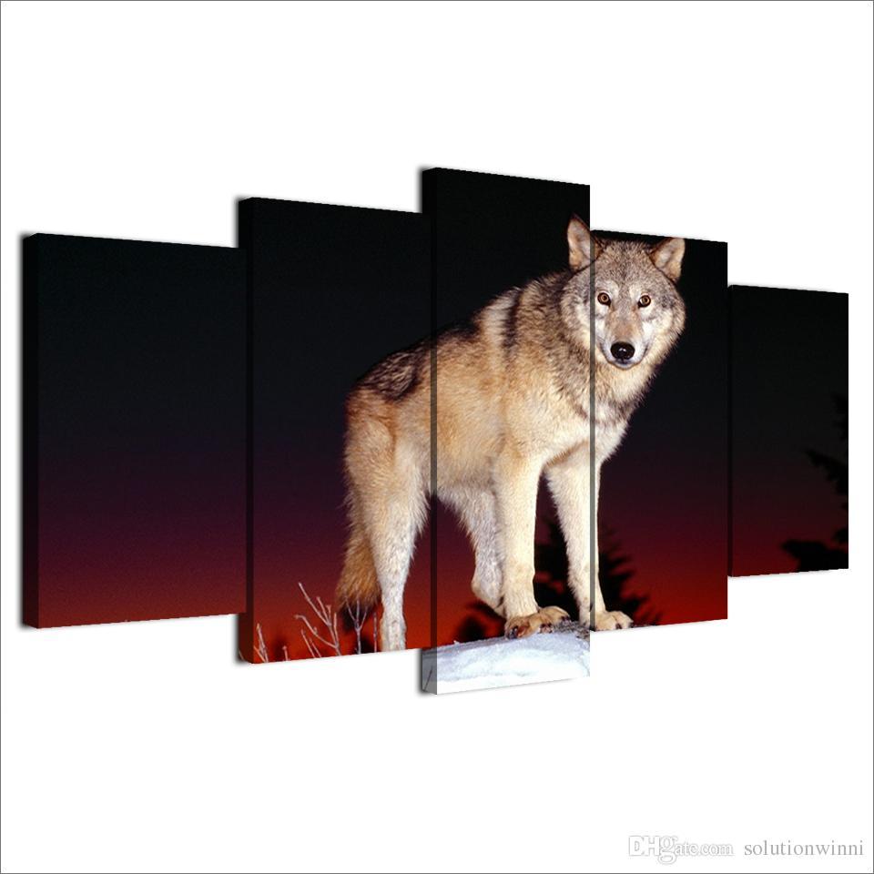 5 sztuk HD Drukowane Wilk Malowanie Czarny I Czerwony Wall Art Dla Kid Roon Płótno Plakat Płótno Pictures Malarstwo