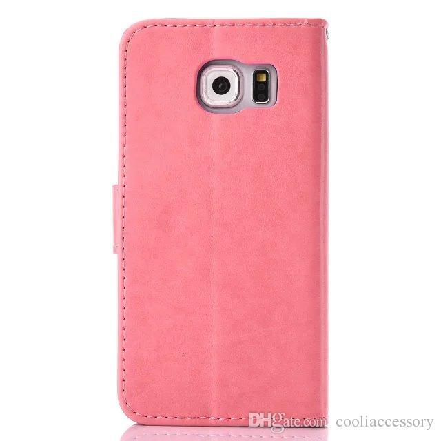 Custodia a portafoglio in pelle flip portafoglio Samsung Galaxy S6 EDGE S5 J710 J510 G530 Carta d'identità G360 supporto monetario TPU Dream catcher Custodia a farfalla