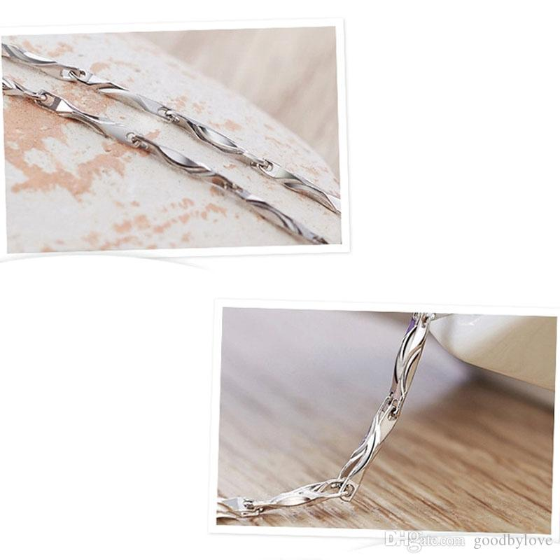 Fashion Party Jewelry 925 Sterling Silver Plated 1MM Slim Thin Ingot Chain Necklace 45cm/40cm for Women Girls Hot Gift