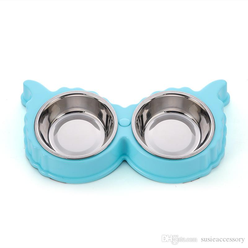 Cute Dog Bowl Stainless Steel Pet Feeder Butterfly Style Puppy Cat