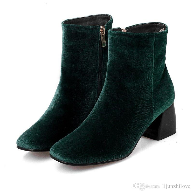 fashion winter brand nude shoes velvet big size square toe high heels runway superstar motorcycle ankle boots