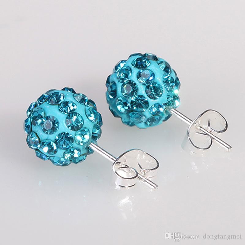 Klassische Diamant Shamhhala-Ohrringe Shambhala-Ohrstecker für Frauen DFMTE21, Heißer Verkauf Micro Disco Ball Ohrringe Schmuck 24 Paare viel