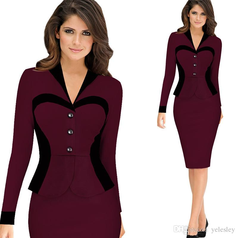 Women Dress Celeb Style Casual Career Business Sheath Dress Ladies Patchwork Pencil Zipper Fancy Party Dresses