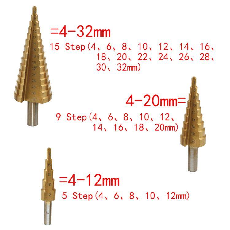 4-12 мм 4-20 мм 4-32 мм HSS 4241 стали большой шаг конус Титана с покрытием металла сверло вырезать набор инструментов отверстие Cutter Оптовая