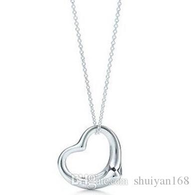 925 Silver Plated Heart Shape Statement Necklaces Hollow Heart Sweater Chain Crystal Jewelry Heart Shape Statement Necklaces Christmas Gift