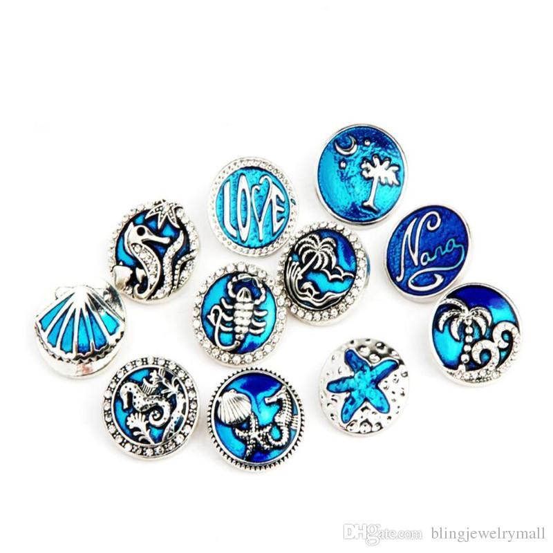 Wholesale DIY Jewelry Beauty Charming Blue Palm Beach Shells Seahorse Snaps Metal Button Fit 18mm Snaps Button Bracelet Jewelry ZA0056