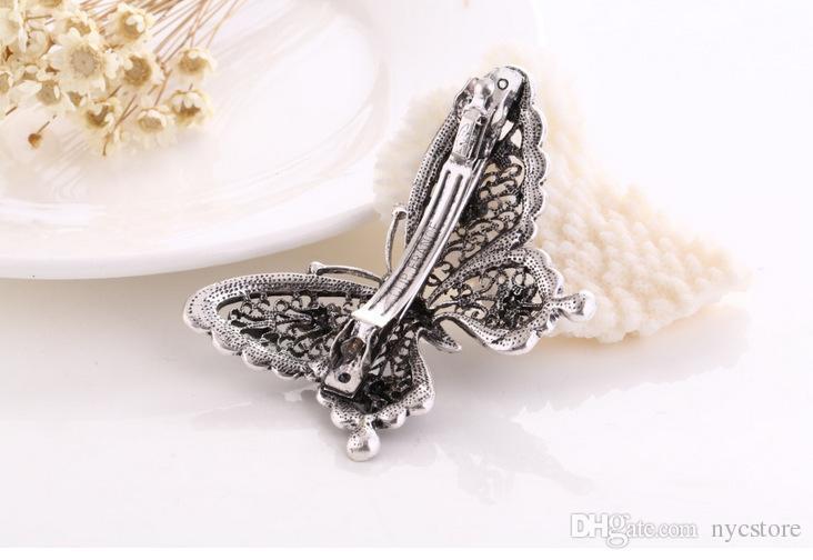 Fashion Crystal Diamond Butterfly Shaped Hair Clip Girls Luxurious Hair Accessories