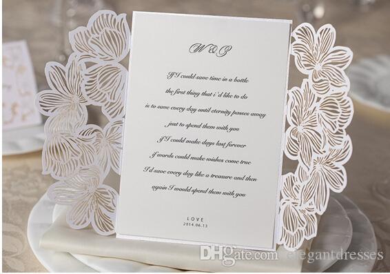 Novità White Wedding Invito carte personalizzate Hollow festa di nozze stampabile Inviti Card con busta chiusa