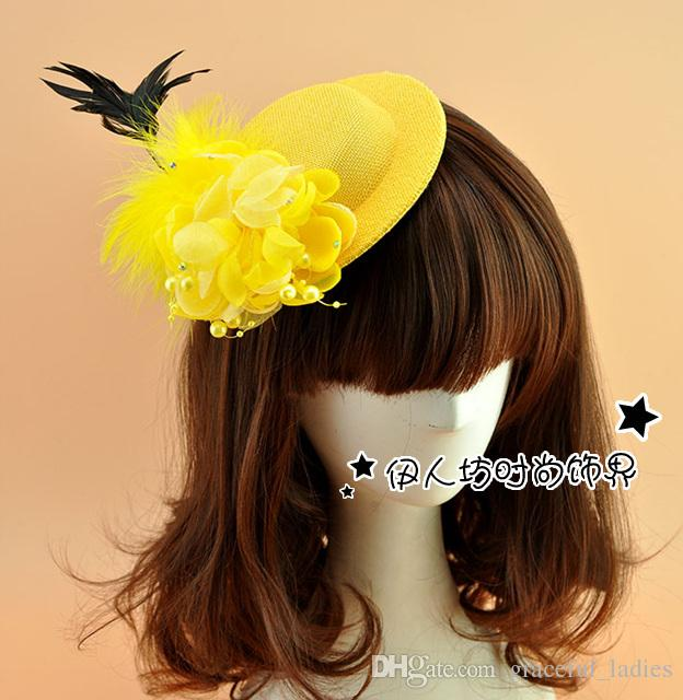3ed04f8bf19b5 Yellow Bridal Hats Cute Feather Wedding Party Accessories Bride Fascinator  Wedding Hat Veils Special Occasion Hats Wedding Hat Veils Ivory Races Hats  ...