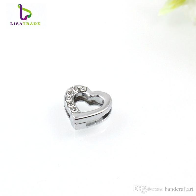 ! 8MM Silver Rhinestone Slide Charms Fit for 8mm Wristband bracelet/ Belt/ Pet collar 10 styles can choose LSSC81-173*10