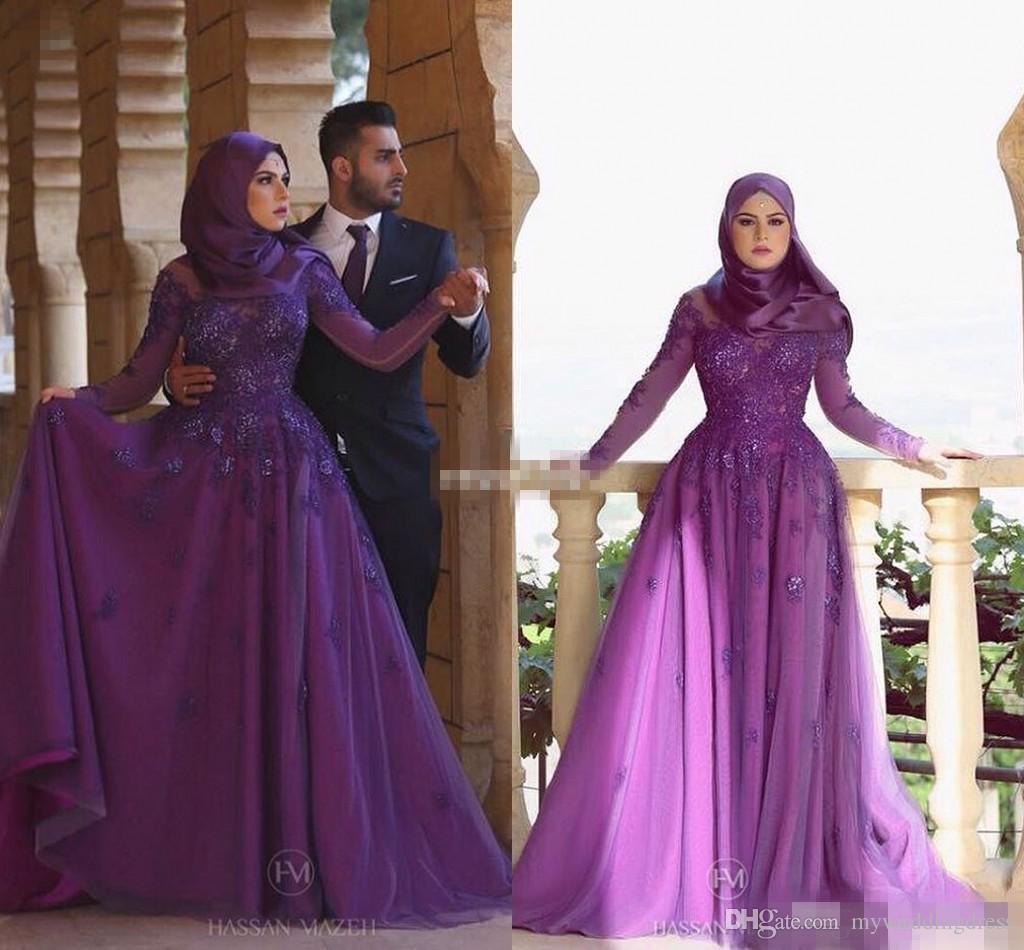 Compre Manga Larga Púrpura Mujeres Musulmán Hijab Vestidos De Noche ...