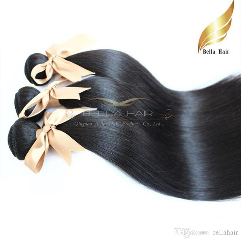 BELLA HAAR 100% Human Jungfrau Haarbündel Doppelschussmongolian Unverarbeitete menschliche Haare Gewebt 1 stück Seidig gerade 8