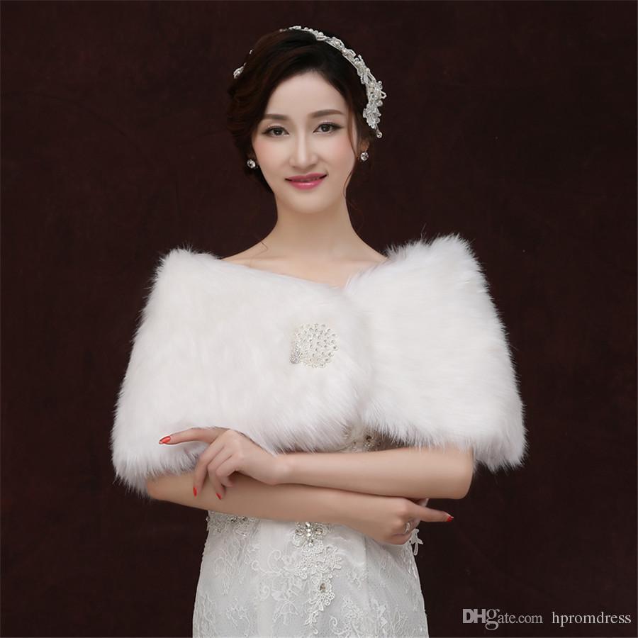 2018 White Shawl Bride Wedding Dress Wool Shawls Winter Coat